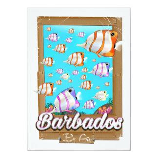 Cartão Poster de viagens tropical dos peixes de Barbados