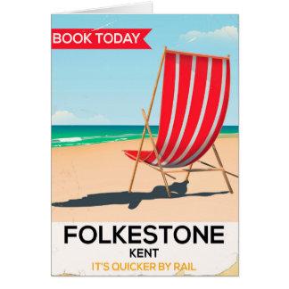 Cartão Poster do beira-mar do vintage de Folkestone Kent