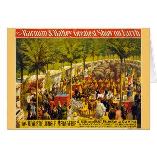 Cartão Poster do circo do vintage - Barnum & Bailey