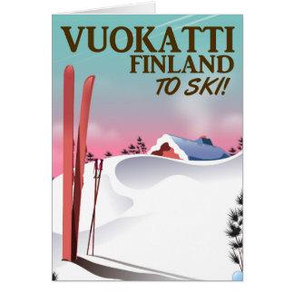 Cartão Poster do esqui de Vuokatti Finlandia
