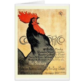 Cartão Poster do francês do vintage de Cocorico