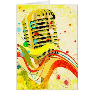 Cartão Poster do microfone do jazz