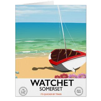 Cartão Poster do trem do vintage de Watchet Somerset