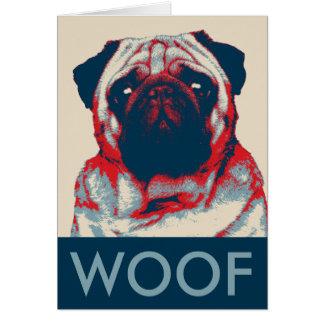 Cartão Poster retro da esperança do Woof do Pug