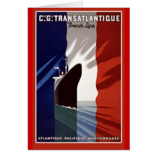 Cartão Poster retro da linha de cruzeiros francesa de