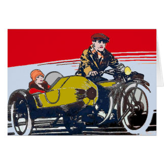 Cartão Poster vintage da motocicleta do side-car