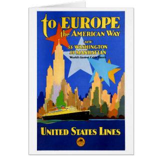 Cartão Poster vintage das linhas de cruzeiros dos EUA