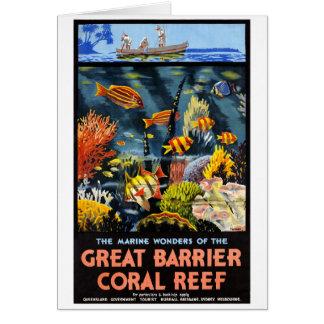 Cartão Poster vintage do recife de corais da barreira de