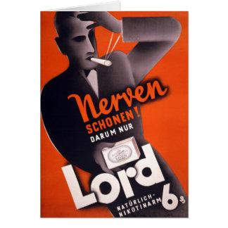 Cartão Poster vintage do senhor Cigarro Alemão restaurado
