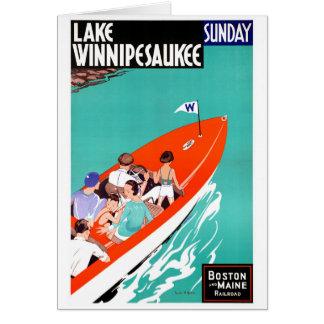 Cartão Poster vintage restaurado Winnipesaukee do lago