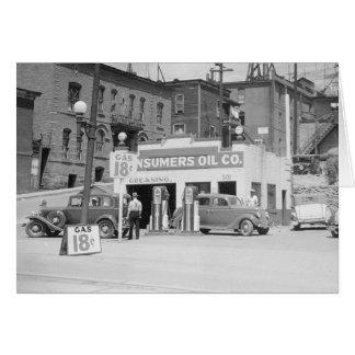 Cartão Posto de gasolina em Montana, 1939