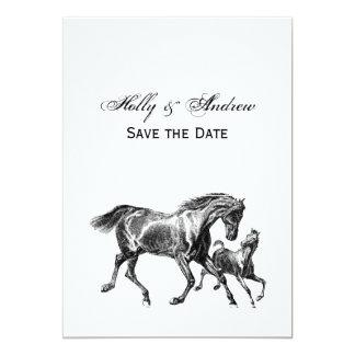 Cartão Potro do bebê da mãe dos cavalos do vintage