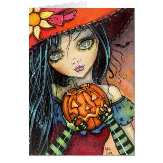 Cartão Pouca arte da fantasia da bruxa do Dia das Bruxas