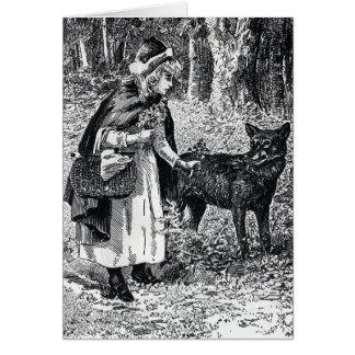 Cartão Pouca capa de equitação vermelha que Petting o