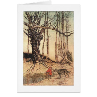 Cartão Pouca capa de equitação vermelha (vazio para