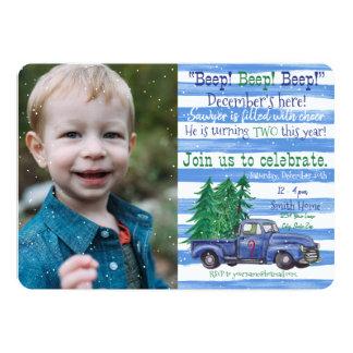 Cartão Pouco caminhão azul aniversário inspirado do