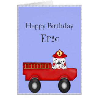 Cartão Pouco carro de bombeiros vermelho, aniversário