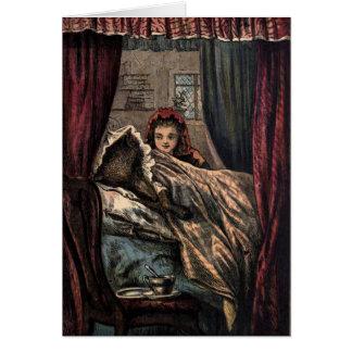 Cartão Pouco lobo da capa de equitação vermelha na cama