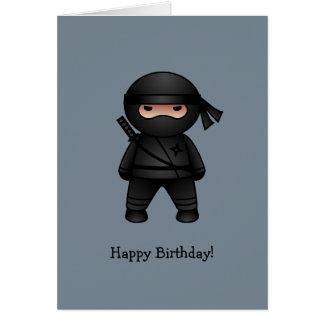 Cartão Pouco Ninja no feliz aniversario cinzento