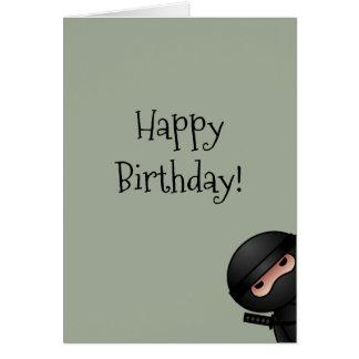 Cartão Pouco Ninja no feliz aniversario de verde prudente