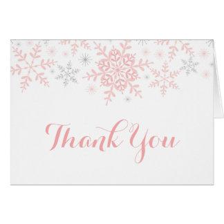 Cartão Pouco obrigado do chá de fraldas do floco de neve