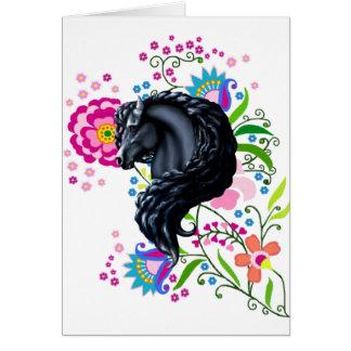 Cartão Povos do frisão, cavalo, garanhão preto