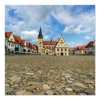 Cartão Praça da cidade velha em Bardejov, Slovakia
