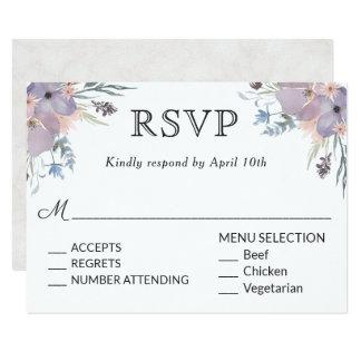 Cartão Prado violeta que Wedding RSVP com escolhas do