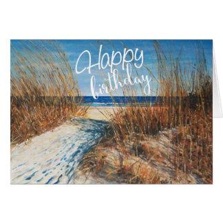 Cartão Praia bonita das dunas de areia que pinta o feliz