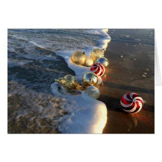 Cartão Praia com enfeites de natal