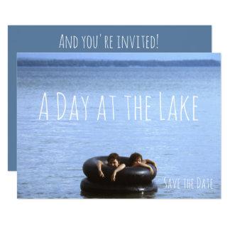 Cartão Praia, dia no partido da praia da natação do lago
