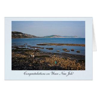 Cartão Praia fóssil da costa, Congrats em seu trabalho