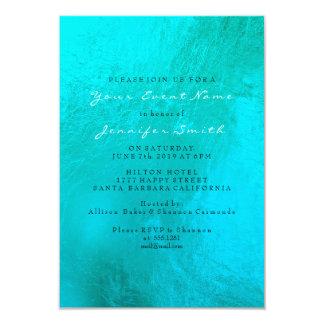 Cartão Praia metálica de Pearl White do Aqua do azul de