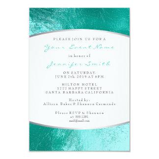 Cartão Praia metálica do branco cinzento do Aqua do azul