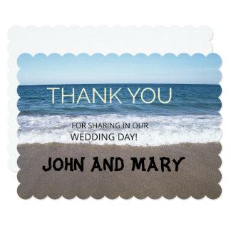 Cartão Praia no obrigado do casamento do oceano você