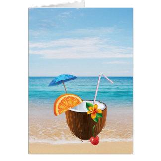 Cartão Praia tropical, céu azul, areia do oceano, coco