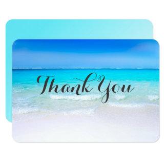 Cartão Praia tropical com os obrigados de um casamento do