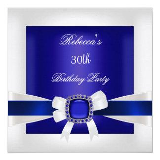 Cartão Prata branca azul do partido de aniversário de 30