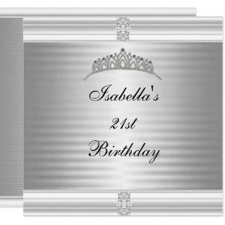 Cartão Prata & branco da tiara da jóia do aniversário de