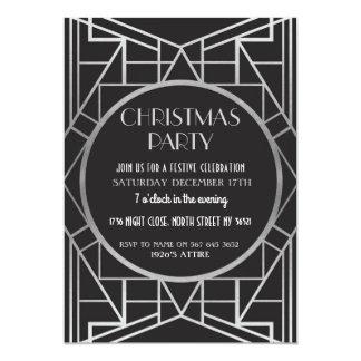 Cartão prata da festa de Natal de Gatsby 20s do art deco