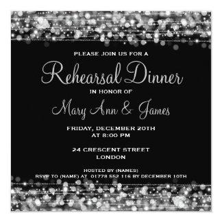 Cartão Prata dos Sparkles do jantar de ensaio do