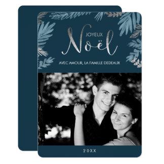Cartão Prata e foto de Joyeux Noël das folhas do azul