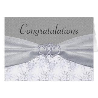 Cartão Prata, estrelas brancas & flocos de neve Wedding