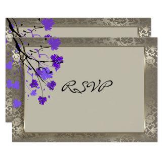 Cartão Prata floral de RSVP & antiga roxa bonita