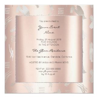 Cartão Prata perolado metálica abstrata do rosa do rosa