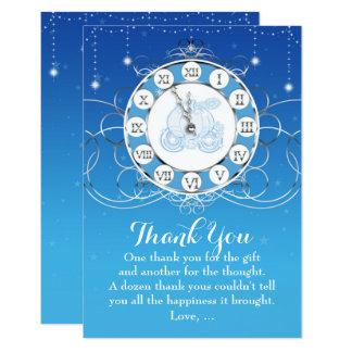 Cartão Prata quase da meia-noite de Cinderella & obrigado