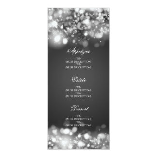 Cartão Prata Sparkling das luzes do menu elegante do