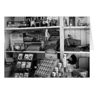 Cartão Prateleiras de loja do vintage