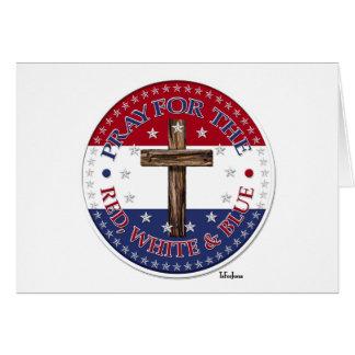 Cartão Pray para o vermelho, branco & o azul com cruz