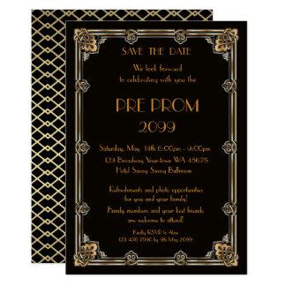 Cartão Pre PromJunior, grande Gatsby, ouro, preto